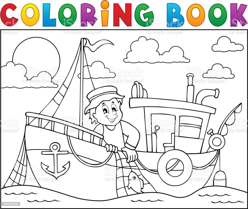 Livre De Coloriage Avec Le Theme Un Bateau De Peche Vecteurs Libres De Droits Et Plus D Images Vectorielles De Adulte Istock