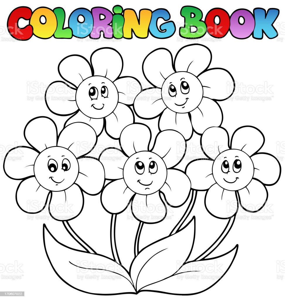 - Coloring Book With Five Flowers Stock Illustration - Download Image Now -  IStock
