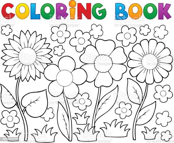 coloring book with flower theme 2 vector id