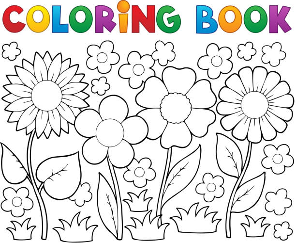 Coloring Book With Flower Theme 2 Vector Art Illustration