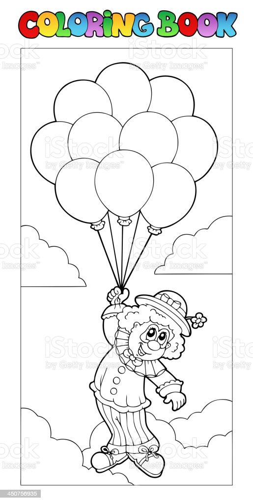 Coloring book with flying clown royalty-free coloring book with flying clown stock vector art & more images of adult