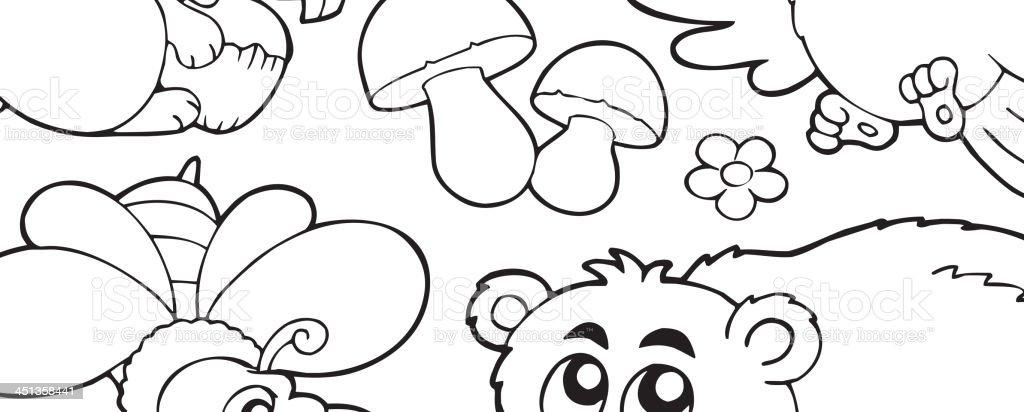 ilustração de livro de colorir com animais da floresta 1 e mais