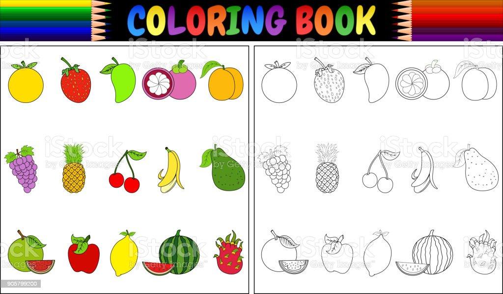 Coloring Book With Fresh Fruits Cartoon Stock Vector Art & More ...