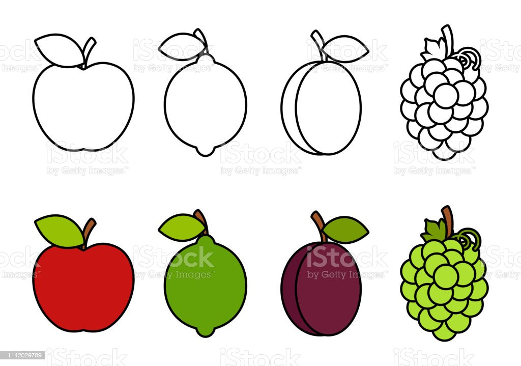 Coloring Book With Fruits Coloring For Kids Stock
