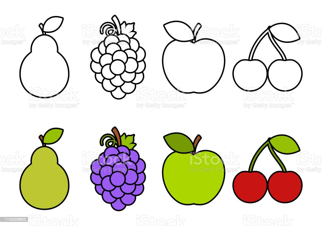 - Coloring Book With Fruits Coloring For Kids Stock Illustration - Download  Image Now - IStock