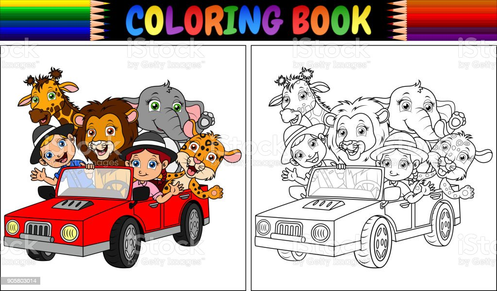 Coloring book with funny kids and animal cartoon on red car векторная иллюстрация