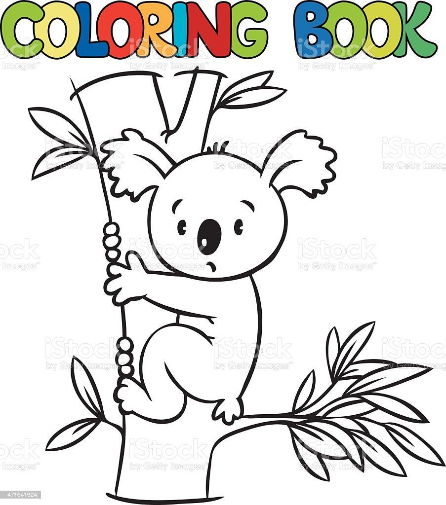 Libro Para Colorear Con Divertidos Koalas - Arte vectorial de stock ...