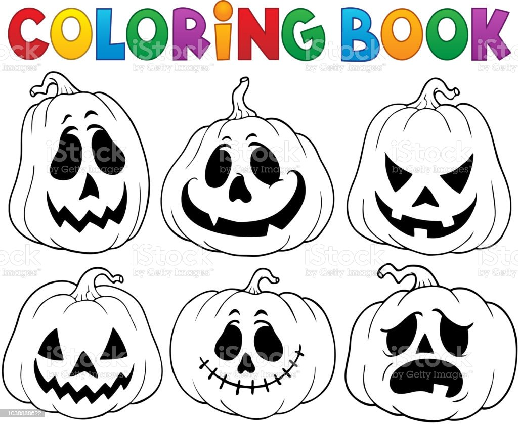 Coloring Book With Halloween Pumpkins 3 Stock Illustration