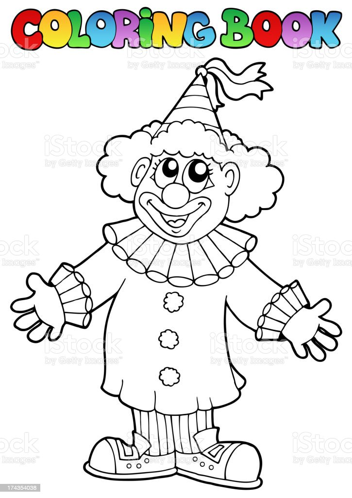 Coloring book with happy clown 9 royalty-free stock vector art