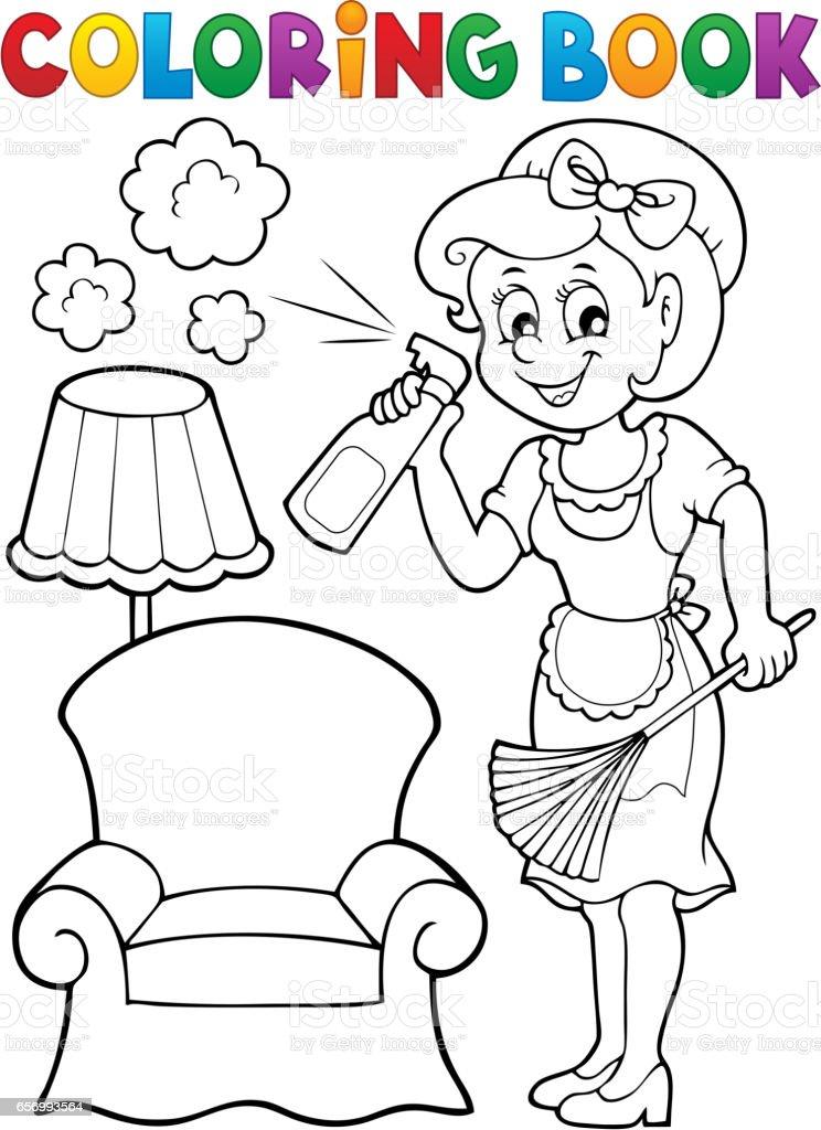 Ilustracion De Libro Para Colorear Con Ama De Casa 2 Y Mas Banco De