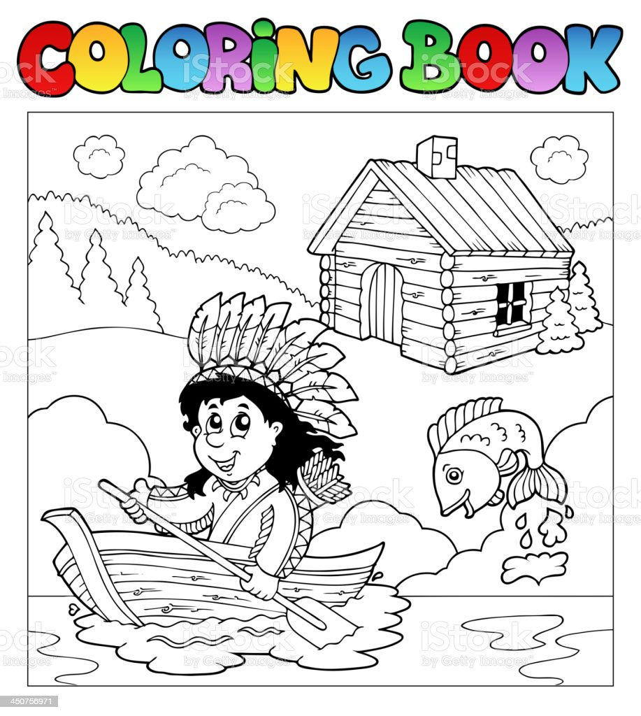 Coloring book with Indian in boat royalty-free stock vector art