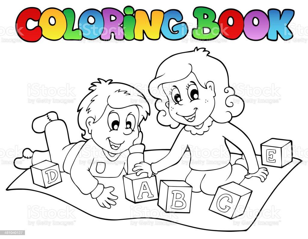 Libro Para Colorear Con Los Niños Y Ladrillos - Arte vectorial de ...
