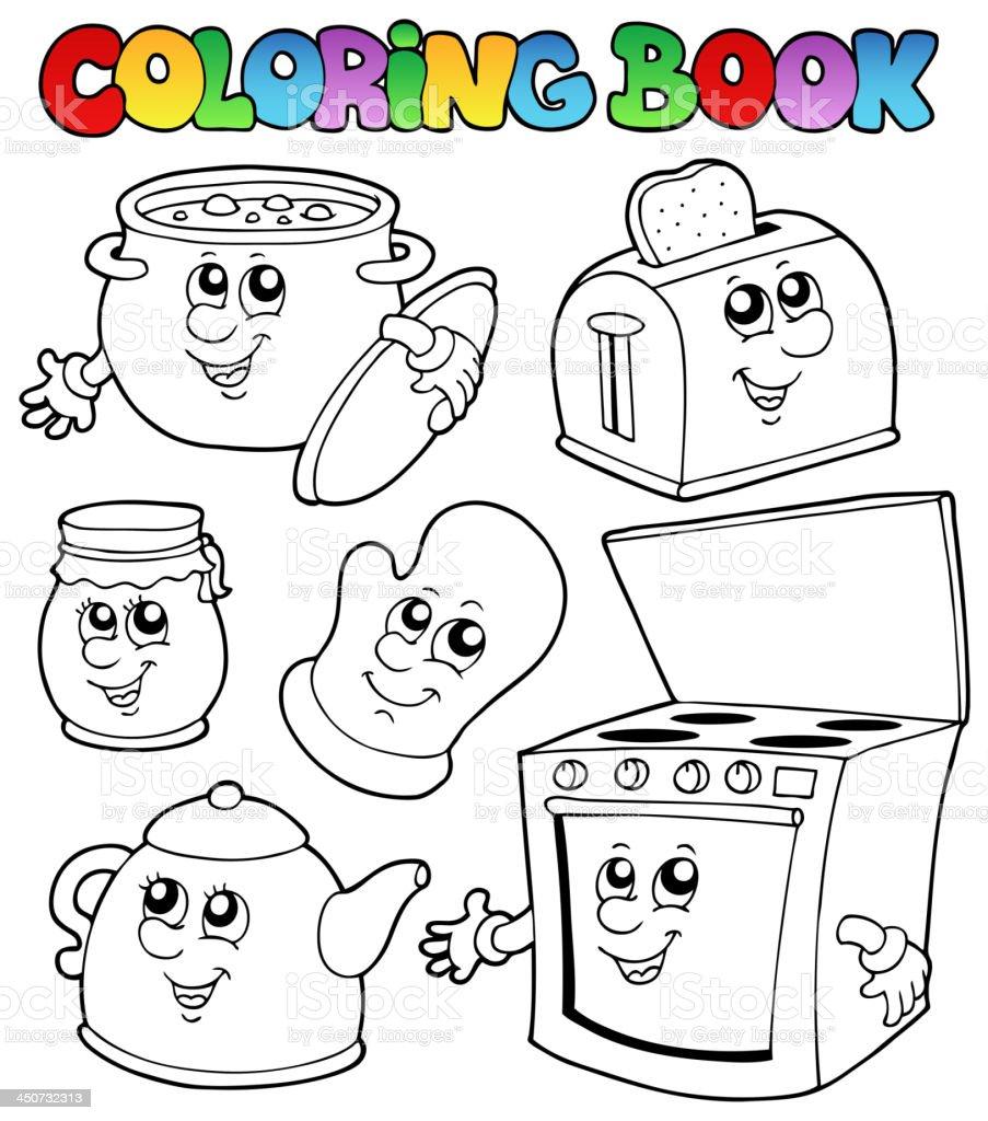 Libro Da Colorare Con Cucina Cartoni Animati - Immagini vettoriali ...
