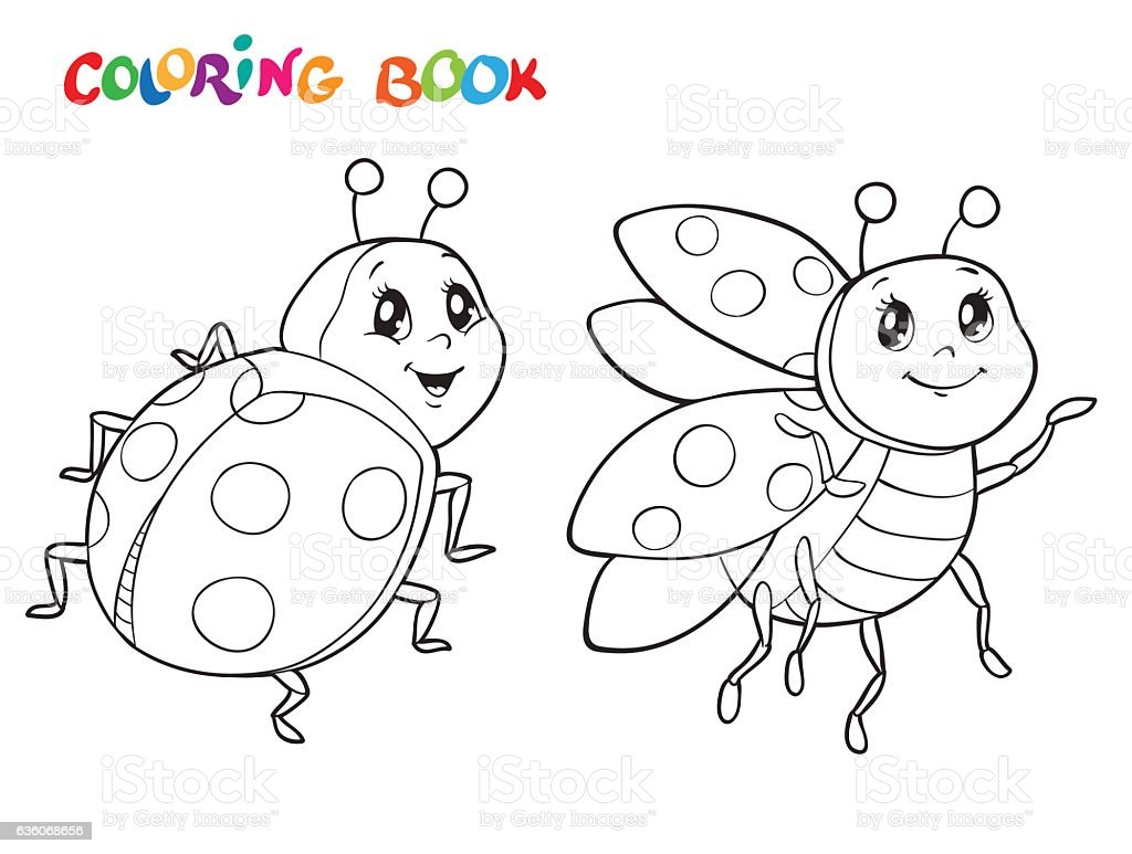 coloring book with ladybug vector illustration isolated on white vector id