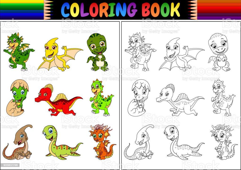 Kitap Küçük Dinozor Karikatür Koleksiyonu Ile Boyama Stok Vektör