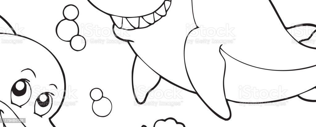 Ilustración De Libro Para Colorear Con Animales Marinos 2 Y Más