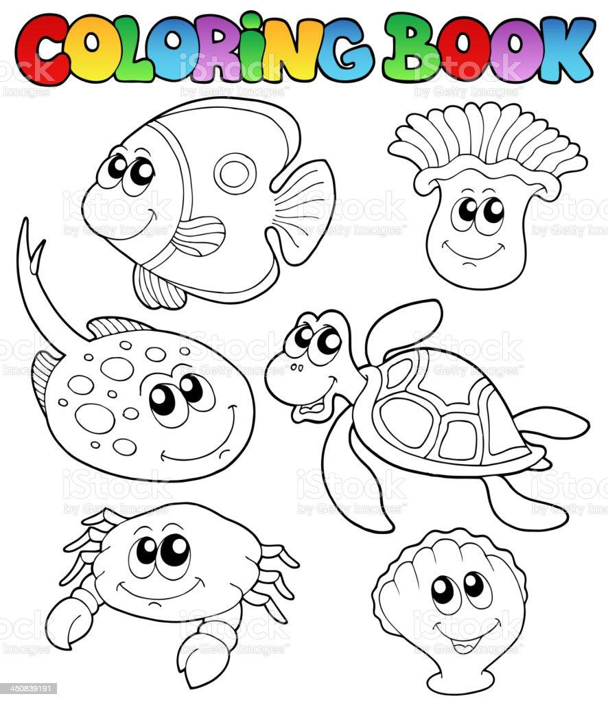 Libro Da Colorare Con Animali Marini 3 Immagini Vettoriali Stock E