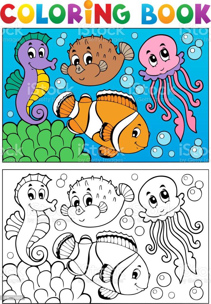 Ilustración de Libro Para Colorear Con Animales Marinos 4 y más ...