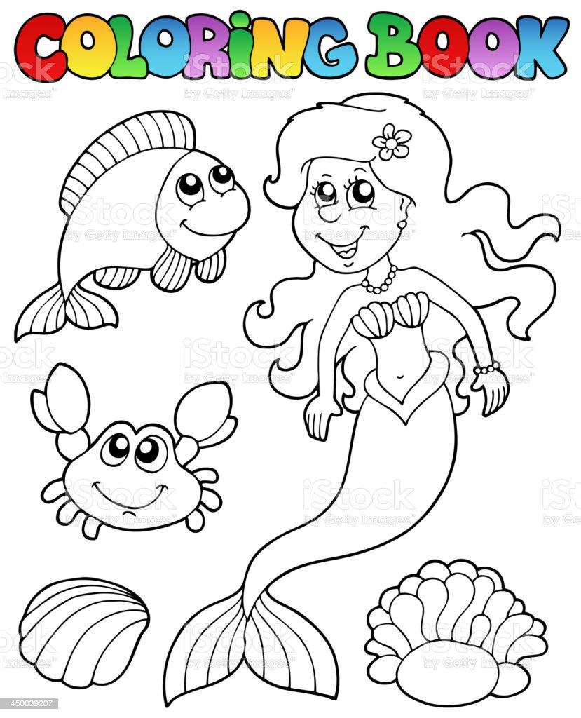 Libro Da Colorare Con Sirena Immagini Vettoriali Stock E Altre