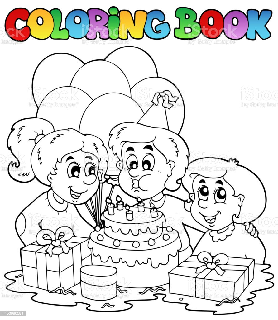 Coloring book with party theme 2 royalty-free stock vector art