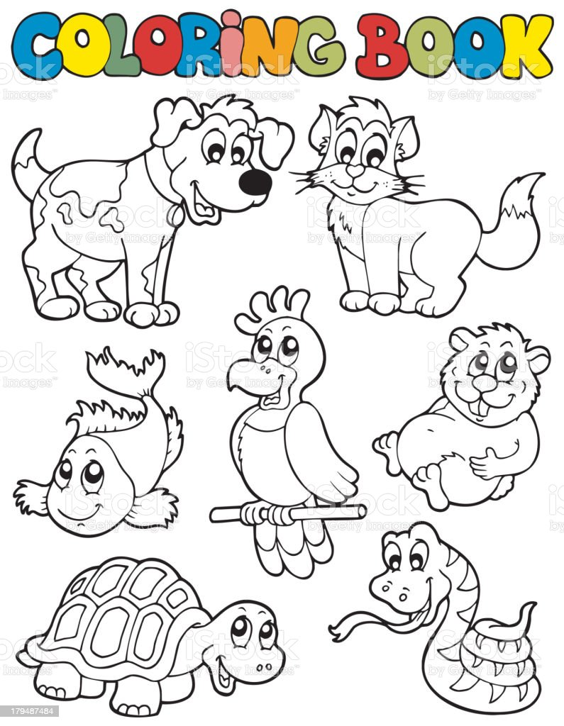 Coloring book with pets 2 royalty-free stock vector art