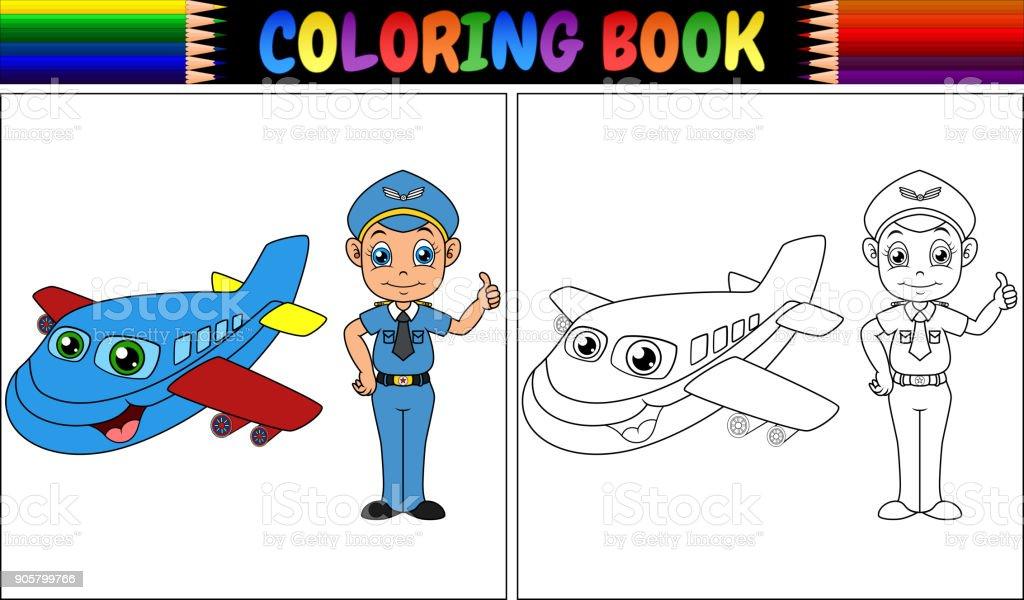 Ilustración de Libro Para Colorear Con Niños Piloto Y Aeroplano y ...