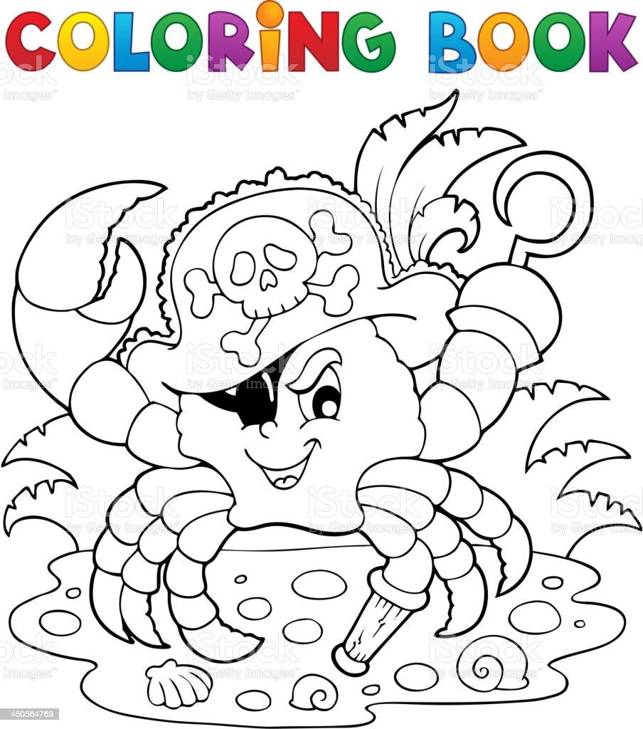 Libro Para Colorear Con Cangrejo Pirata - Arte vectorial de stock y ...