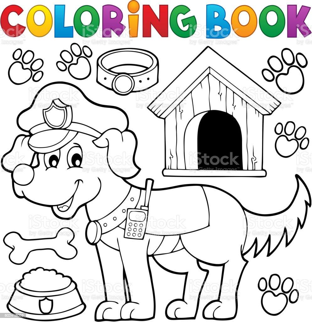 Polis Köpeği Ile Boyama Kitabı Stok Vektör Sanatı Alıcı Vericinin