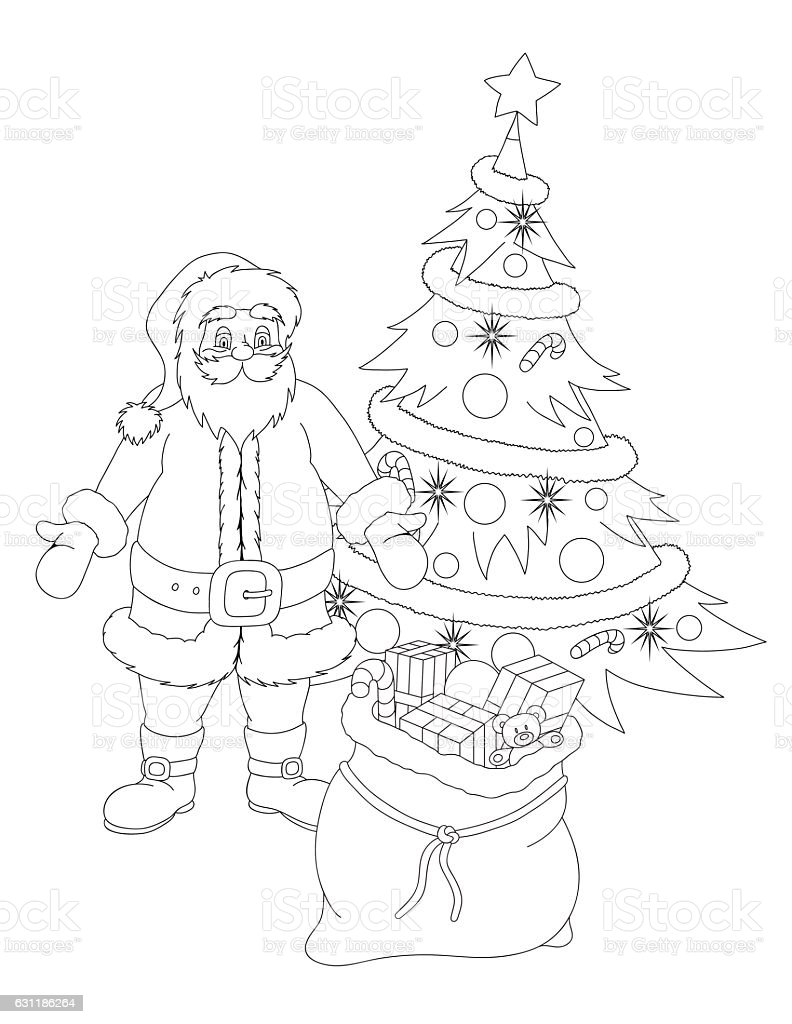Coloring Book With Santa Claus Christmas Tree And Presents Stock