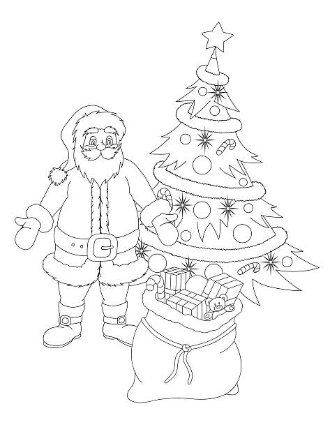 coloring book with santa claus christmas tree and presents vector art illustration