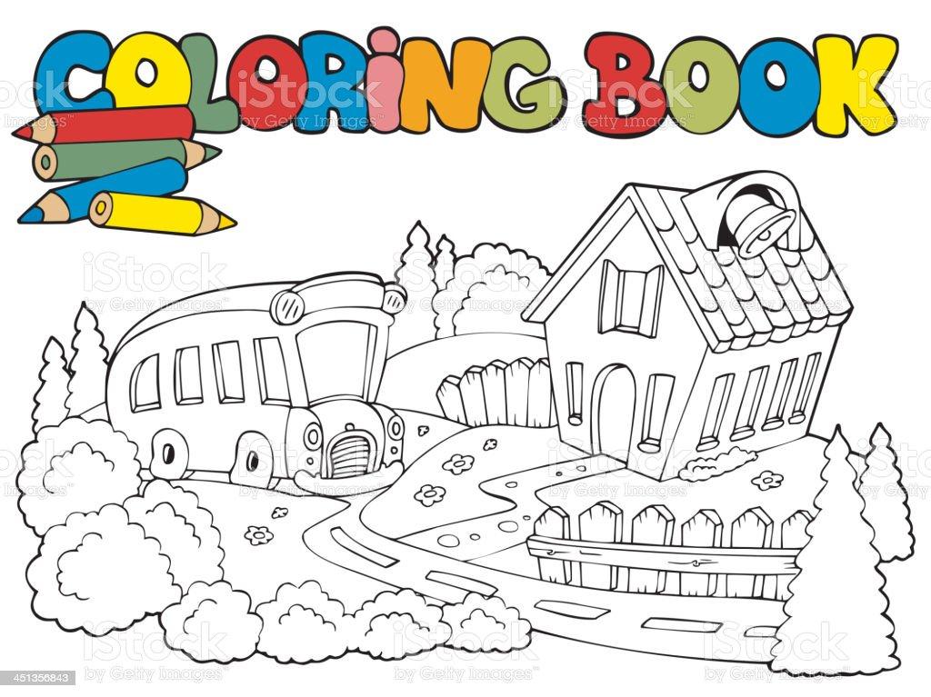 Libro Para Colorear Con Autobús Escolar Y - Arte vectorial de stock ...