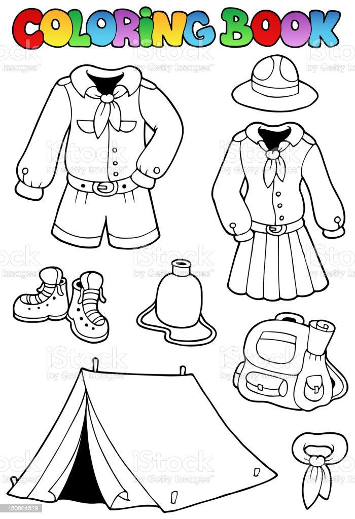 Ilustración de Libro Para Colorear Con Scout Ropa y más banco de ...