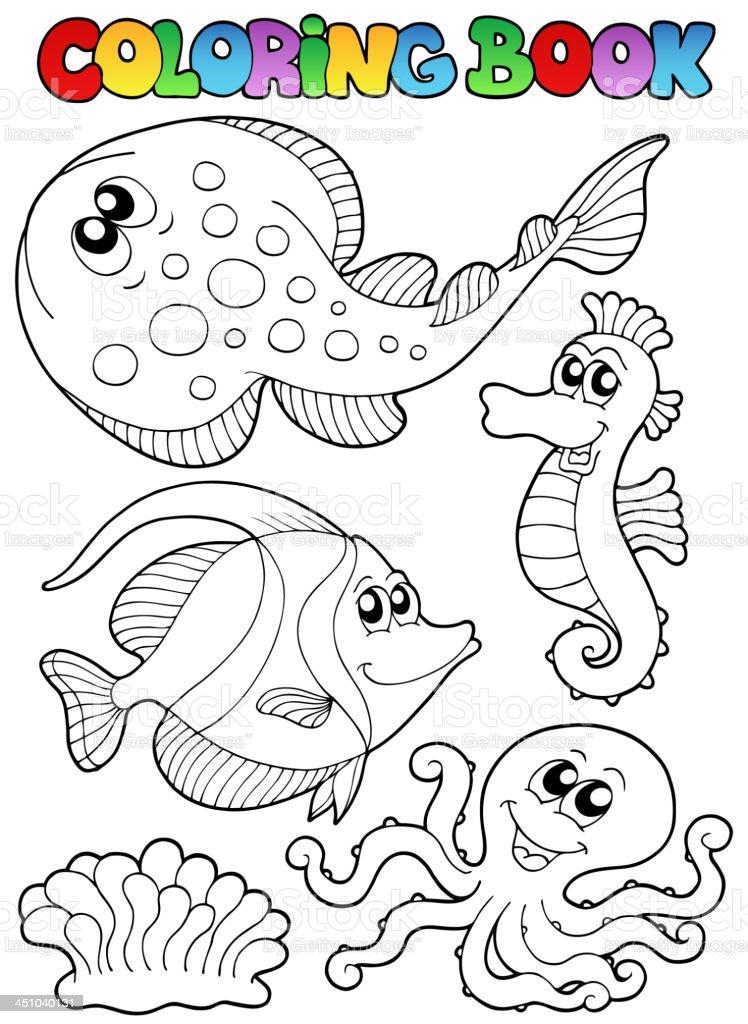 Malbuch Mit Meer Tiere 3 Stock Vektor Art und mehr Bilder von ...