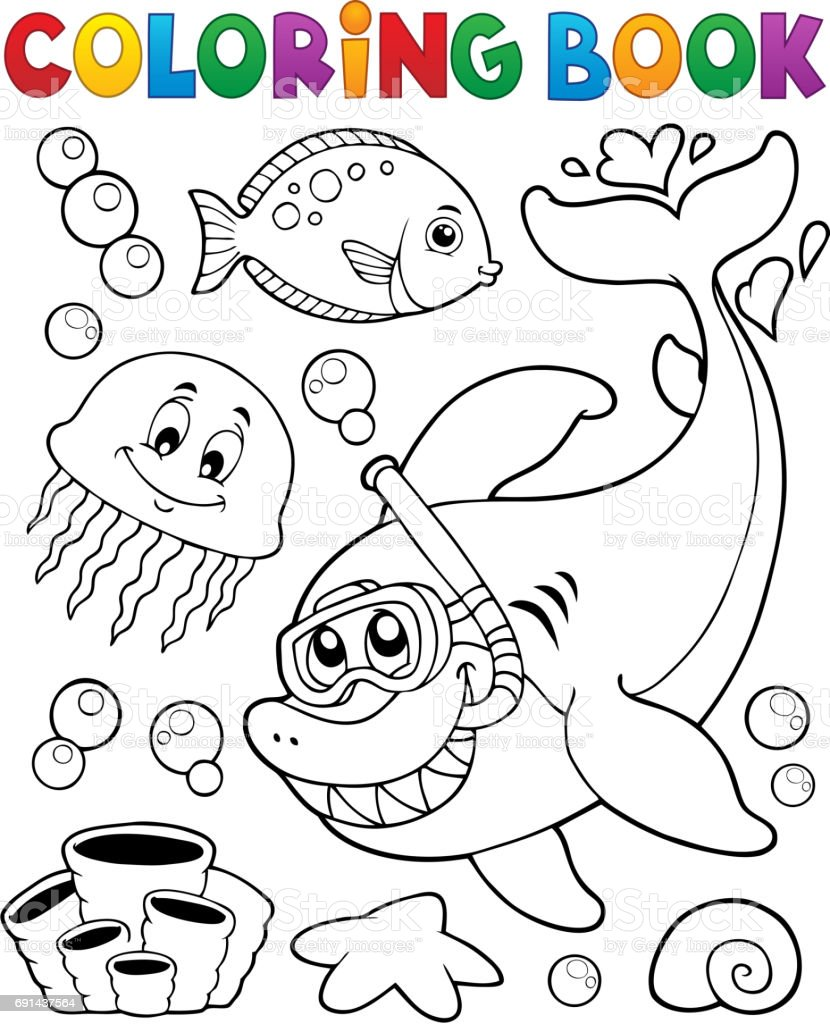 Ilustración de Libro Para Colorear Con Buzo Snorkel De Tiburón y más ...