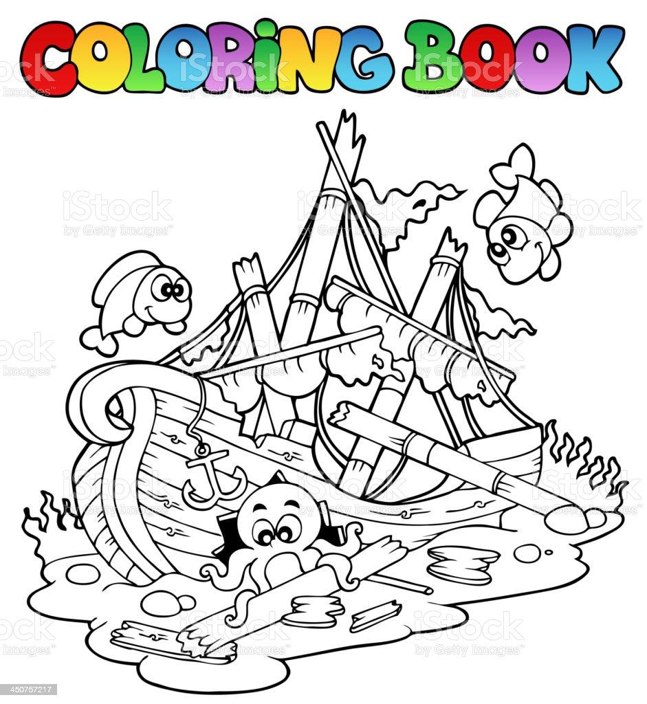 книгараскраска с кораблекрушение стоковая векторная