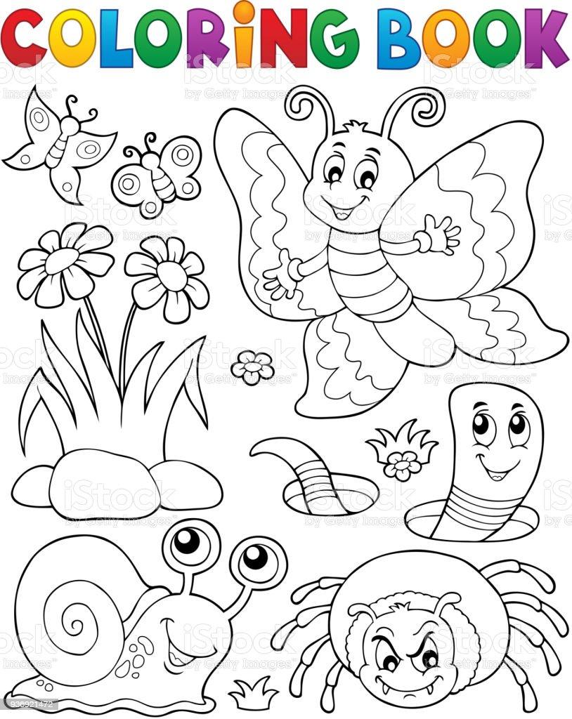 Boyama Kitabı Ile Küçük Hayvan 4 Stok Vektör Sanatı Ağaç çiçeği