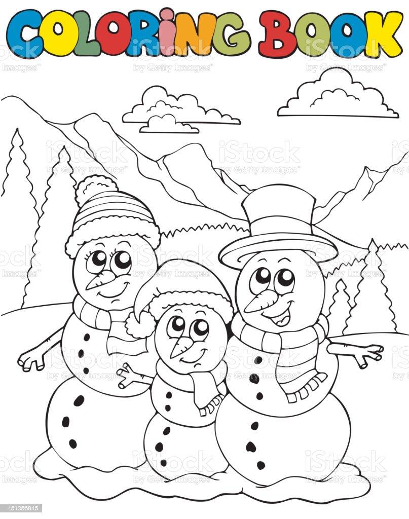 Ilustración de Libro Para Colorear Con Muñeco De Nieve Para La ...