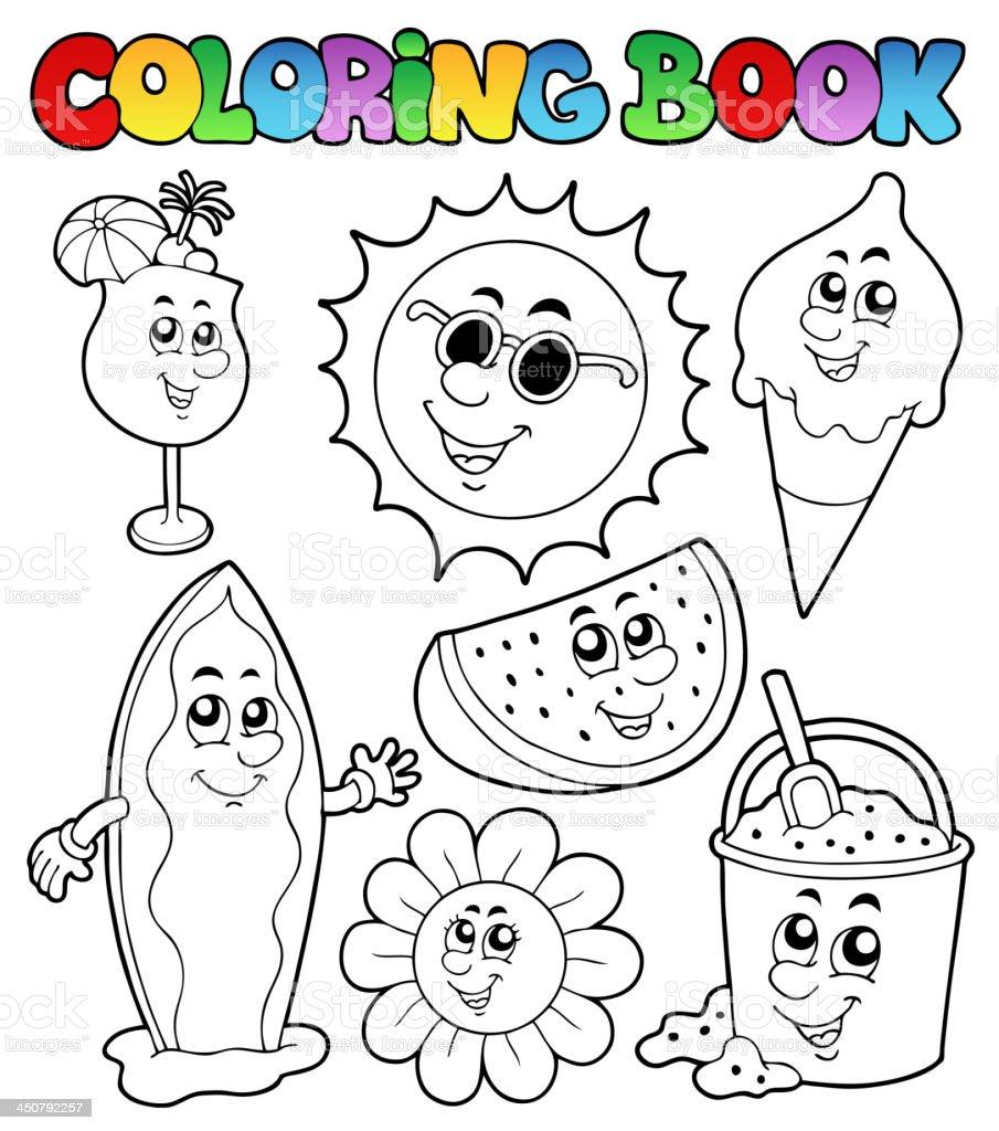 Libro Para Colorear Con Imágenes De Verano - Arte vectorial de stock ...