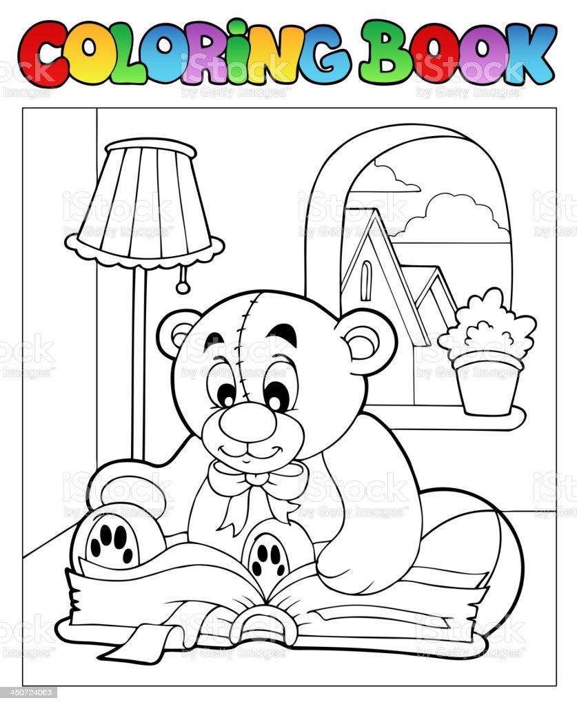 Malbuch Mit Teddybär 2 Vektor Illustration 450724063 | iStock