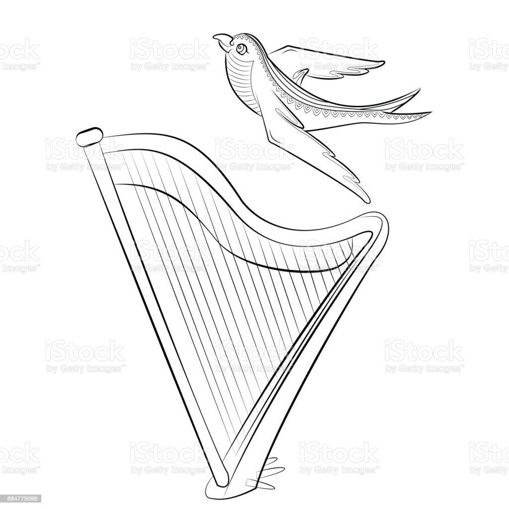 Boyama Kitabı Ile Harp Ve Yutmak Yaylı Bir Müzik Aleti Ve Bir Kuş