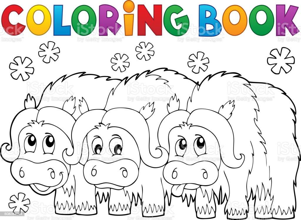 Ilustración de Libro Para Colorear Con Tres Bueyes Almizcleros y más ...