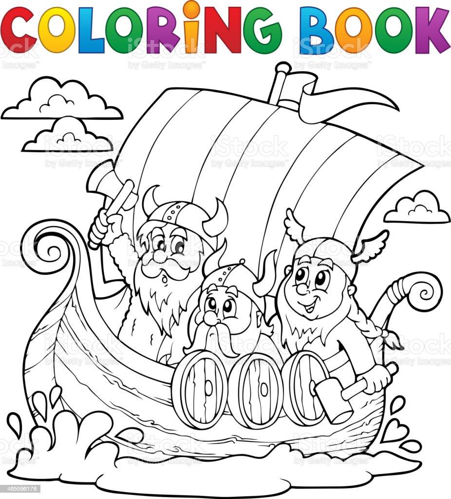 Ilustración De Libro Para Colorear Con Barco De Vikingos Y
