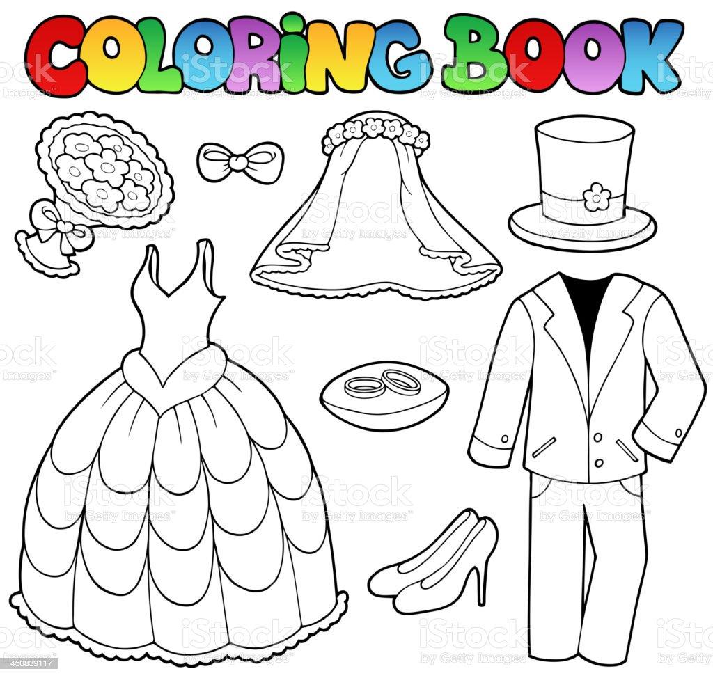 Kolorowanka Z Ślub Ubrania - Stockowe grafiki wektorowe i więcej obrazów  Bukiet - iStock