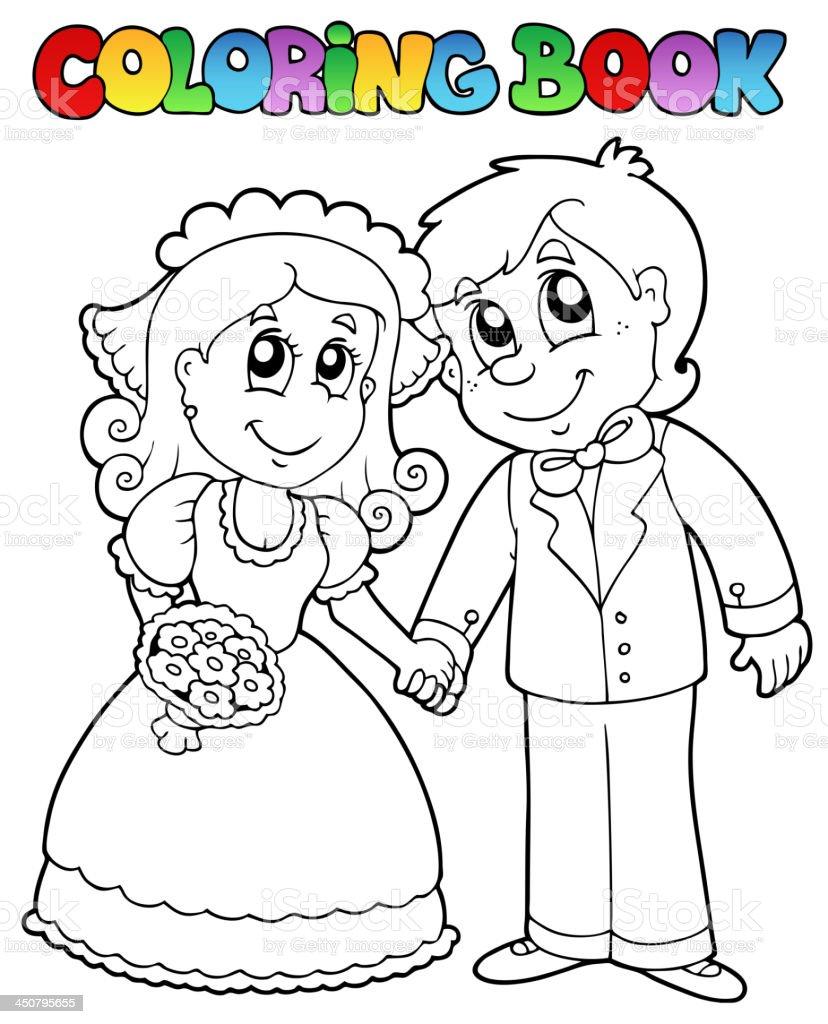 libro para colorear con pareja de novios illustracion libre de derechos libre de derechos