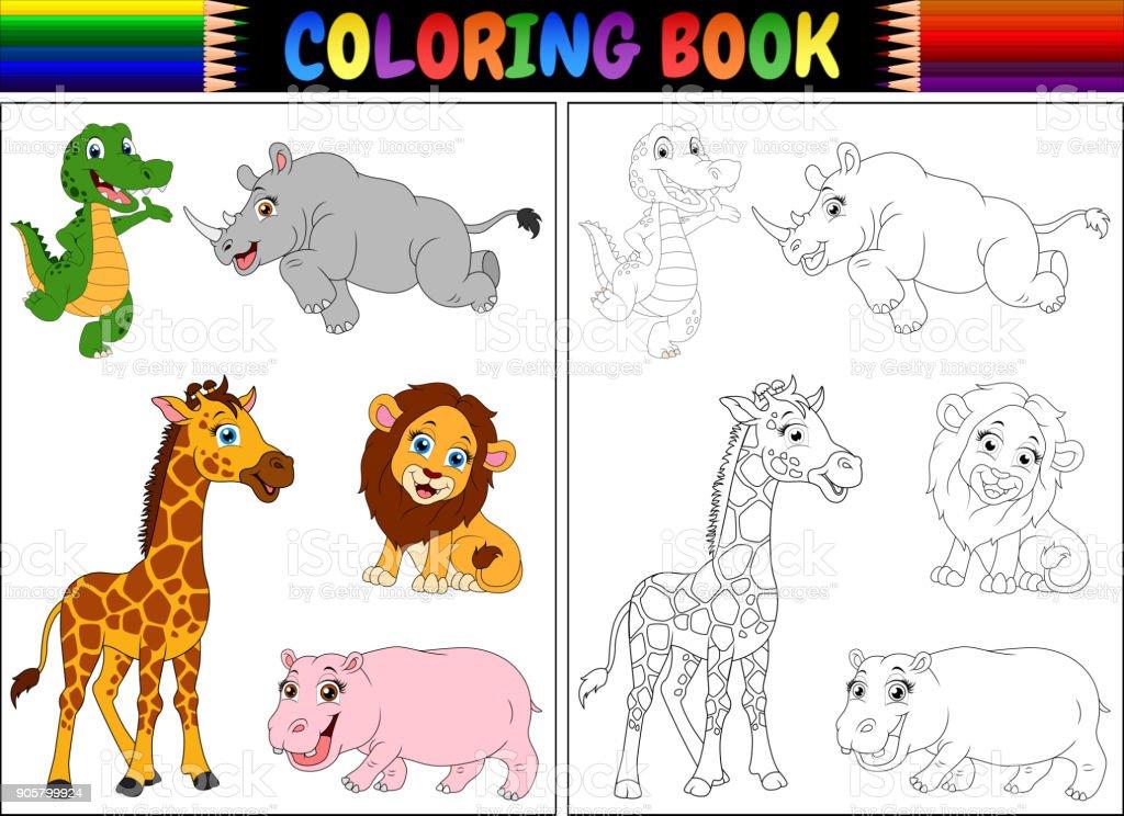 Ilustración De Libro Para Colorear Con Dibujos De Animales