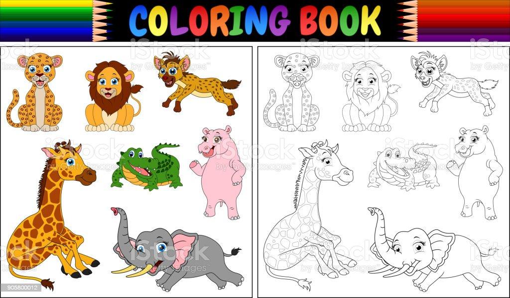 Vahşi Hayvanlar Karikatür Ile Boyama Kitabı Stok Vektör Sanatı