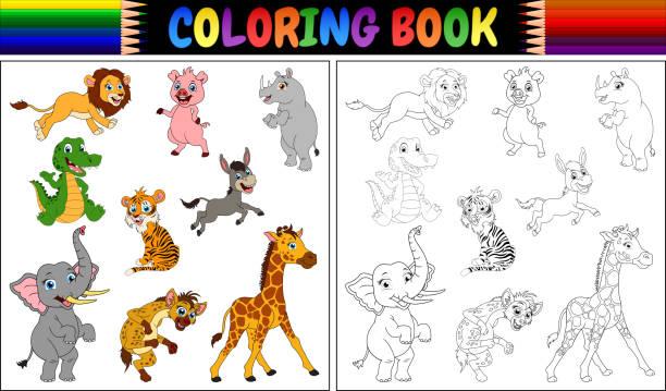 malbuch mit wilden tiersammlung - giraffenhumor stock-grafiken, -clipart, -cartoons und -symbole