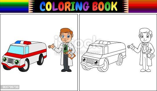 istock Libro de colorear. Niño juega con coche ambulancia ...