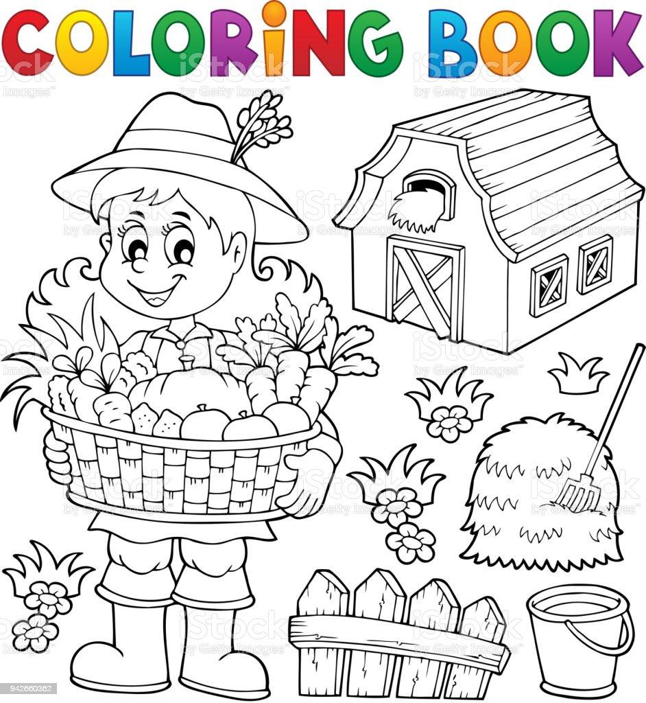 Boyama Kitabı Kadın çiftçi Tema 1 Stok Vektör Sanatı Bir Kişinin