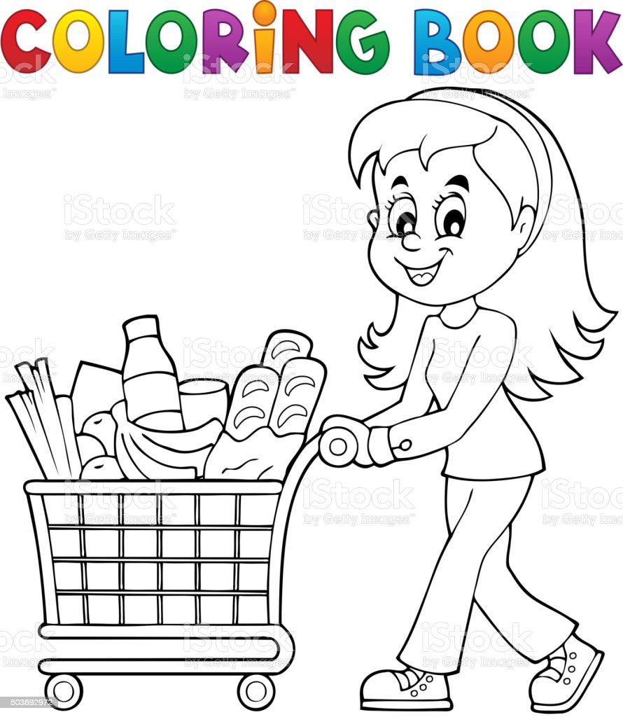 Coloring book woman with shopping cart stock vector art for Grocery cart coloring page